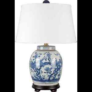Details About Clic Chinese Blue And White Porcelain Oriental Ginger Jar Lamp Flowers Birds