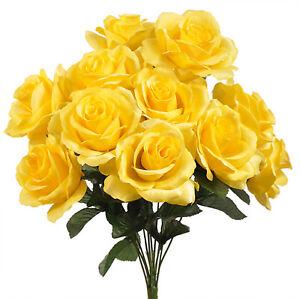 Dark Yellow 12 Open Long Stem Roses Silk Wedding Flowers Bouquets
