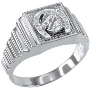 sterling silver lucky horseshoe square s ring ebay