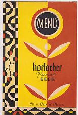 Vintage Horlacher Beer Menu Cover Allentown PA Unused
