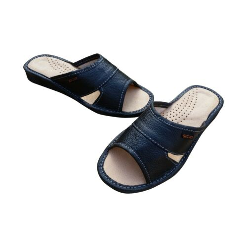 Womens 100/% Leather Slip On Sandals Slippers Ladies Black Mules UK Seller Size