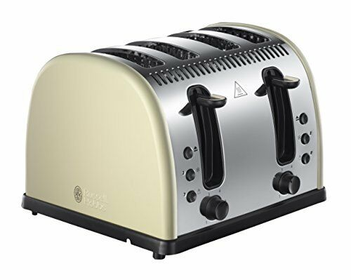 Russell Hobbs LEGACY Tostapane 4 Fette Color Crema ampi slot ideale per crumpets
