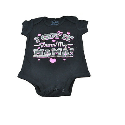 I Got It From My Mama Funny Baby Body Suit Girls Authentic Spencers Black