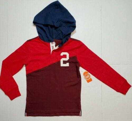WONDER NATION Boys Long Sleeve Jersey Hoodie Shirt Red Navy Burgundy S L NWT