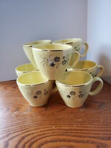 Vintage Flower Pattern Cups with gold trim