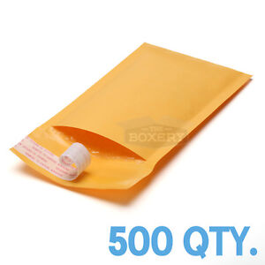 500 #000 Kraft Bubble Padded Envelopes Mailers 4 x 8 from TheBoxery