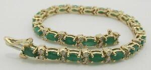 Charming-9Ct-Prong-Emerald-amp-Diamond-14k-Yellow-Gold-Over-Tennis-7-25-034-Bracelet