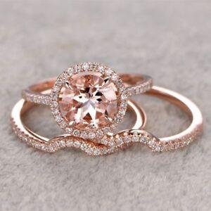 2-5CT-Morganite-Engagement-Ring-14k-Rose-Gold-Over-Wedding-Promise-Bridal-Set