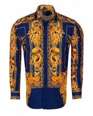 Mens Slim Shirt Oscar Banks Turkey Cotton Mix Wrinkle Free 6139,06 Blue Paisley