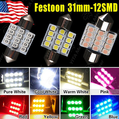 LOT 100 X Multi-Color 31mm 12 LED SMD Festoon DOME/MAP Interior Car Lights Bulb