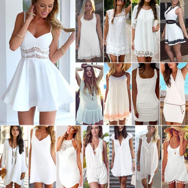 Plus Size Womens White Dress Holiday Mini Dress Evening Party Beach Sun Dress AU