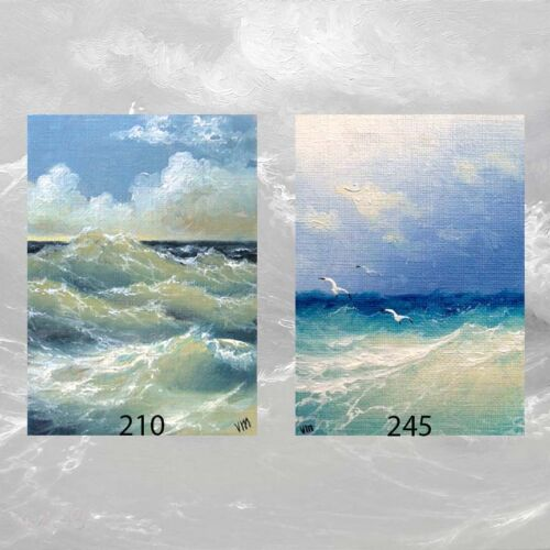 LOT #3 of 2 ACEO PRINTS MARINE ART SEASCAPE GIFT Ocean Storm Seaguls Surf  Waves