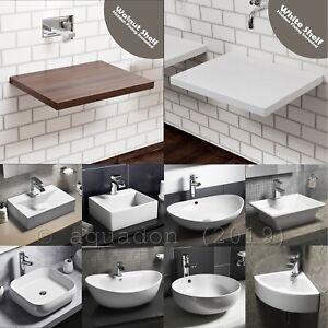 Vessel-Basin-Sink-Floating-Shelves-Shelf-Bathrooms-White-Gloss-Solid-Stone-Resin