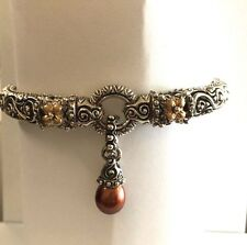 Barbara Bixby Sterling & 18k Gold Hinged Bangle Bracelet w/ Pearl Enhancer, NR