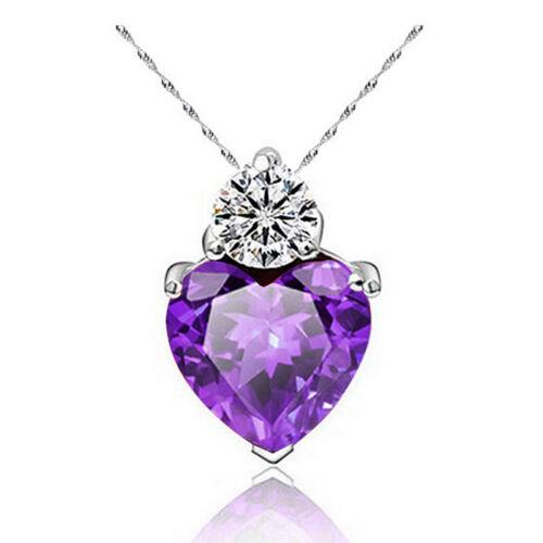 Crystal Choker Chunky Jewelry Statement Women Love Heart Pendant Necklace Chain
