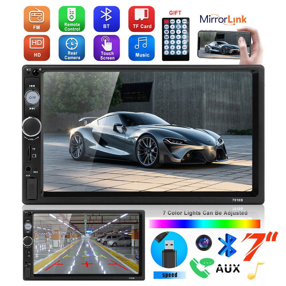 autoradio: 2DIN Autoradio Touchscreen Telecamera Stereo Mirror Link Bluetooth Microfono USB