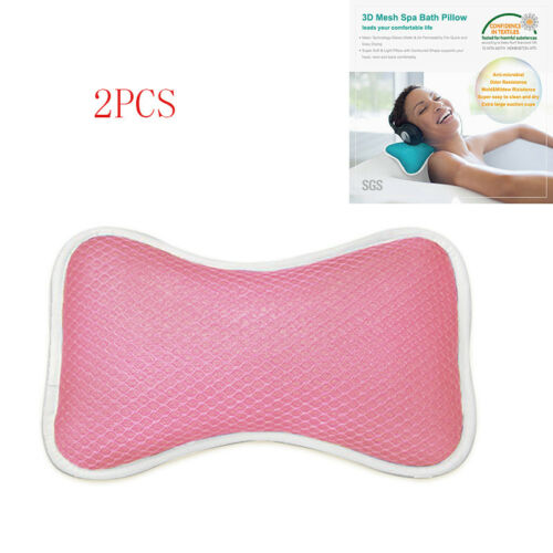 US Bath Spa Pillow Cushion Neck Back Support Foam Comfort Bathtub Tub Suction