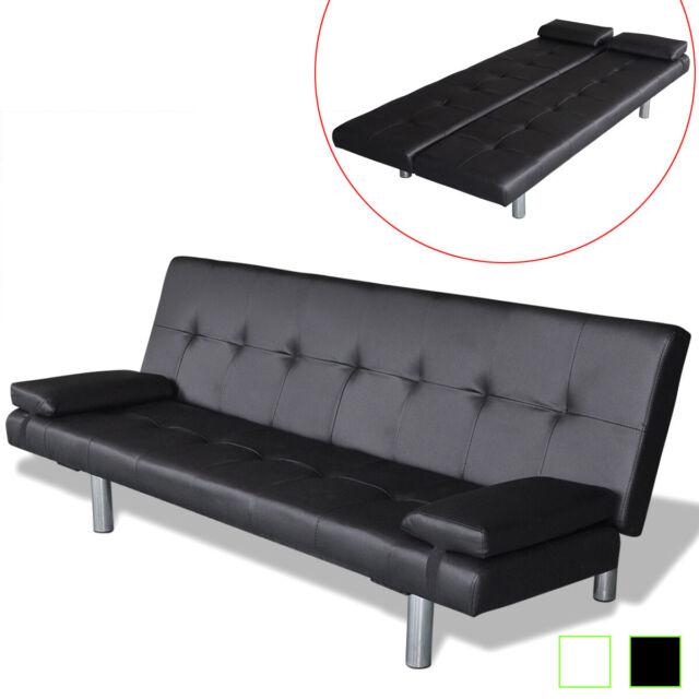 F6821 Black White Faux Leather Futon