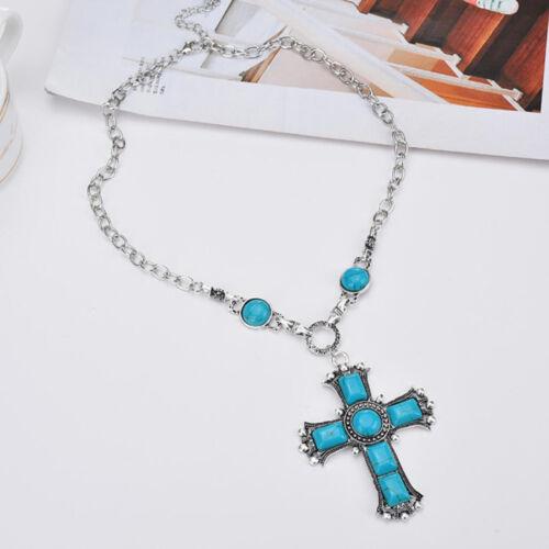 Les Femmes Turquoise Cross Necklace Bib Choker Chunky Pendentif chaîne Déclaration Bijoux