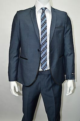 Men's Sharkskin Teal Blue Slim Fit Dress Suit Size 42R NEW Suit