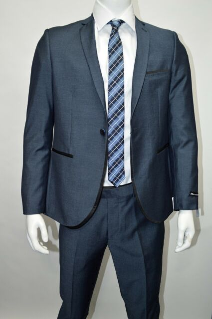 Men's Teal Blue Sharkskin 1 Button Slim Fit Suit w/ Black Trim SIZE 44R NEW