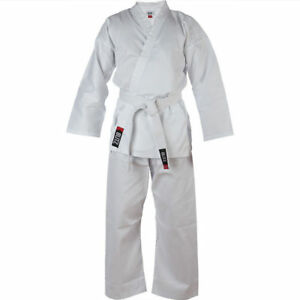 Free White Belt KO Kids Karate Suit Gi 8.5oz Polycotton Student Uniform White