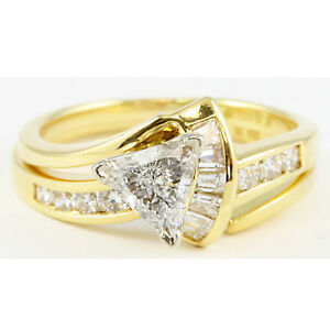 Details about 18k Yellow Gold Trillion Triangle Diamond Engagement Ring &  Wedding Band Set