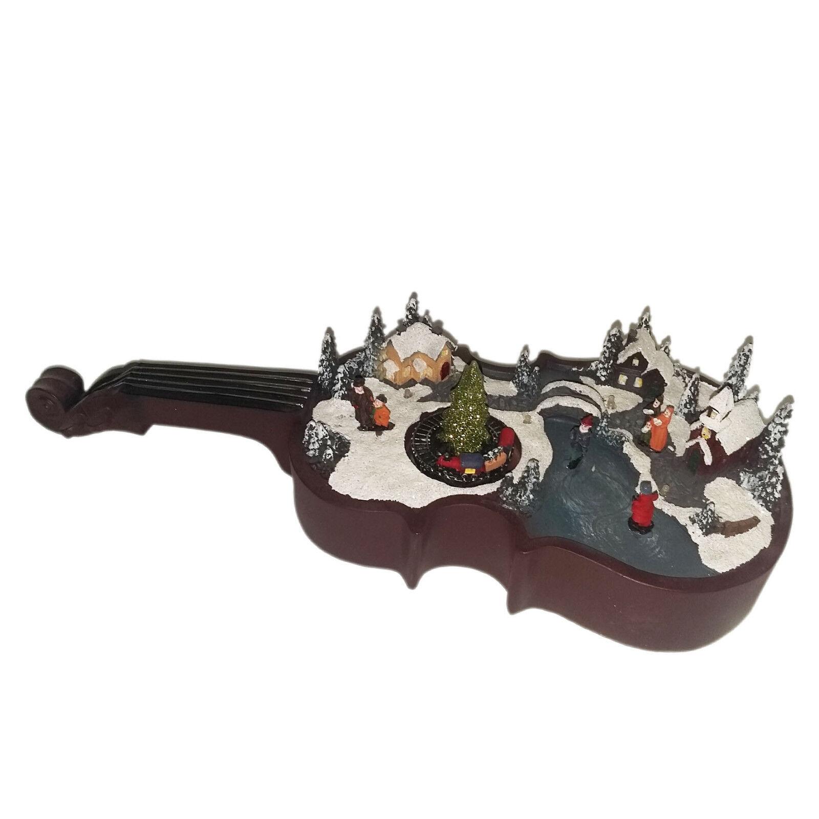 Weihnachten Szene Musik und Lichter ruht auf Violine-Spieluhr mit Bewegung