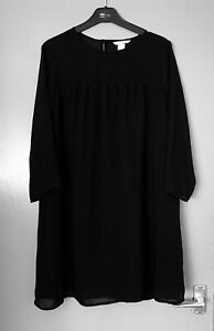 H-amp-M-Black-Tunic-Dress-Oversized-Dolly-Top-3-4-Sleeves-Chiffon-Bohemian-Size-10