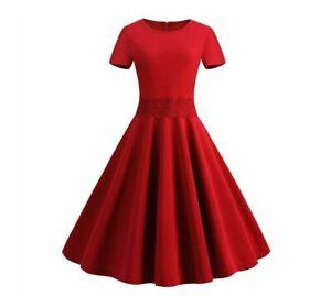 women retro style elegant dress short sleeve knee length