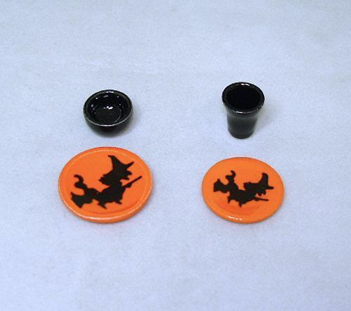 Miniature Halloween Witch Ceramic Place Setting Handcraft for Haunted Dollhouse