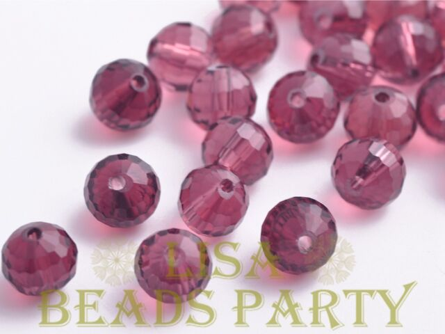 20pcs 8mm 96 Facets Round Faceted Loose Spacer Crystal Glass Beads Bulk Fuchsia