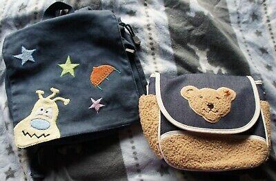 2 Taschen Rucksack Blau Braun Hund All Steiff Teddy Blau