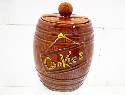 VINTAGE BROWN BARREL COOKIE JAR with LID COOKIES MCCOY WOOD WISKEY KITCHEN FARM