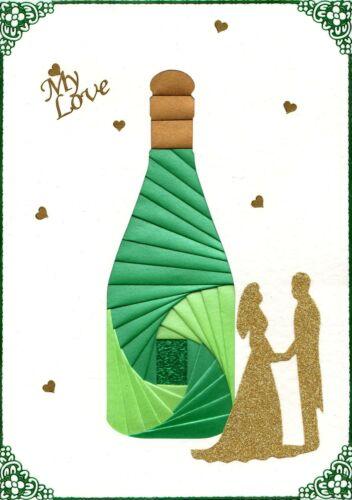 DeeCraft Iris Folding Card Pack Champagne Bottle