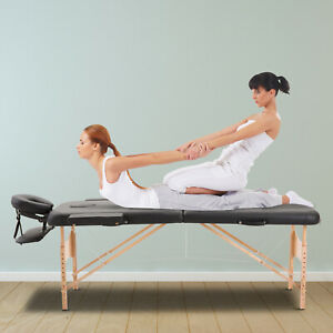 2-Section-Massage-Table-Spa-Facial-Bed-Adjustable-Foldable-Black