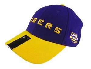 new product 19b8e 49153 Image is loading NCAA-LSU-Tigers-Purple-and-Yellow-Nike-Swoosh-