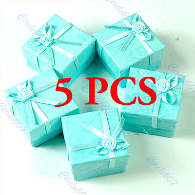 5 X Jewellery Jewelry Gift Box Case for Ring Square Green NEW