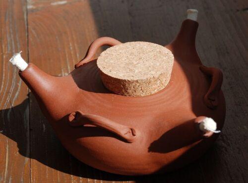 Öllampe Öllicht dreiflammig Ton Keramik Mittelalter rustikal natur unglasiert