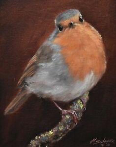 Fine-John-Silver-Original-Oil-Painting-Robin-On-A-Branch-Bird-Wildlife-Art