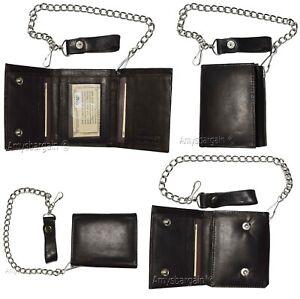 men/'s genuine leather Black trifold chain wallet motorcycle trucker biker wallet