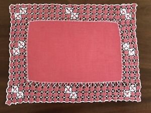 Vintage-Hand-Embroidered-Linen-TABLE-CENTRE-TRAY-CLOTH-15X11-INCHES-Salmon-Pink