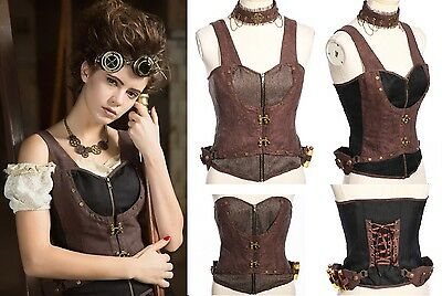 Gothic Steampunk RQ-BL Choker Top SET  Pirates Korsett Shirt LARP Vintage SP172