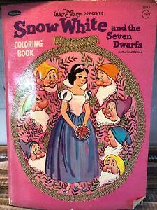 1953 VINTAGE DISNEY SNOW WHITE & THE SEVEN DWARFS COLORING BOOK USED Whitman