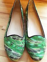 Clarks Ladies Ballerina Shoe Alicia Ava Green Floral 4 D
