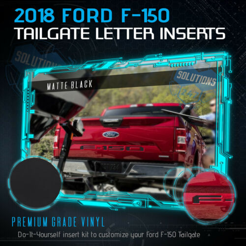 Black 2018 Ford F-150 F150 Tailgate Vinyl Letter Insert Decals Flat Matte