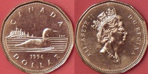 Brilliant Uncirculated 1996 Canada 1 Dollar From Mint/'s Roll