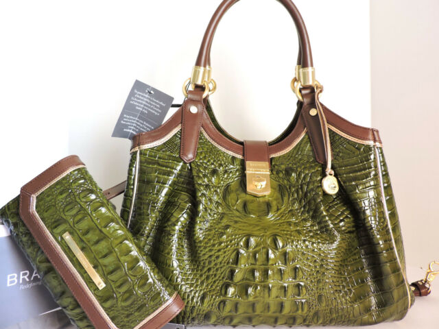 73a7c346ad50 Brahmin Elisa Chive Tri-Texture Leather Hobo Satchel + Checkbook Wallet NWT