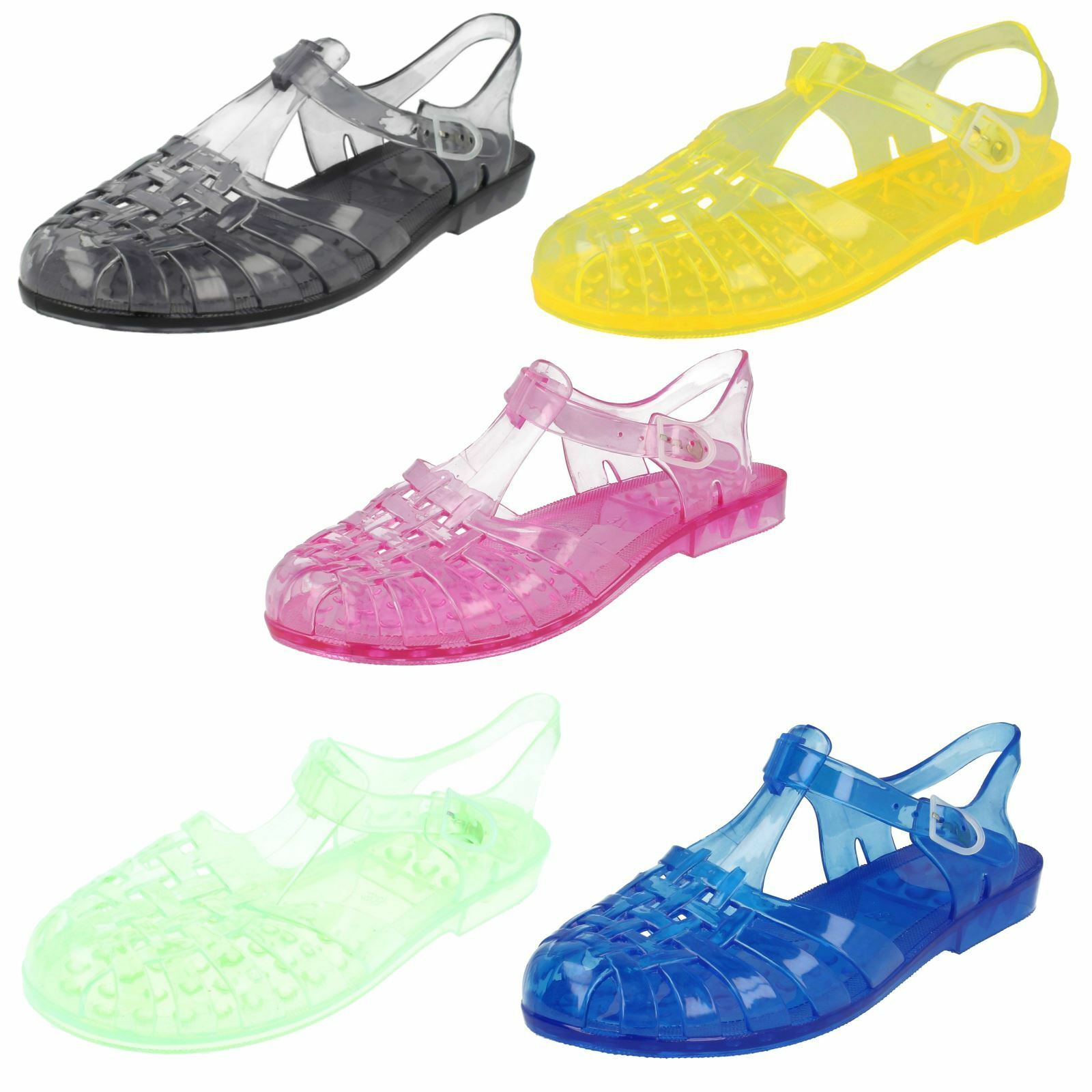 e18ca15a418a Ladies Spot on 90 s Retro Jelly Buckle Sandals F0714 Yellow UK 4 for sale  online