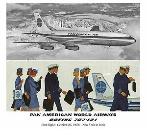"""Pan American World Airways BOEING 707-121 ((16""""x20"""")) Print"""